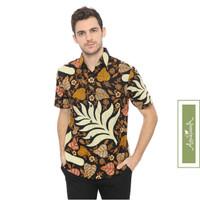 Agrapana Slimfit Baju Kemeja Hem Batik Pria Slim Fit Lengan Pendek Dak