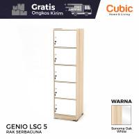 Cubic Rak Pintu Susun 5 Minimalis / Lemari Buku Serbaguna/ GENIO LSG 5 - SonomaO-WhiteGl