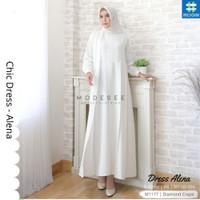 Baju Wanita Muslimah Gamis Long Homey Chic Dress Alena Modern Maxi 312 - Clear White