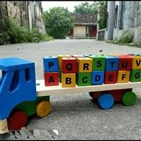 mainan anak wooden toys truk balok bahan kayu Huruf abjad