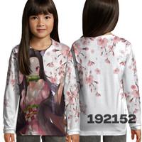 Baju Kaos Longsleeves Anak Perempuan Anime Adult Nezuko Full Printing
