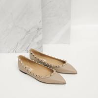 Valentino Ballerina Flat Poudre calf