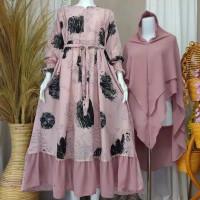 Baju Gamis Wanita Set Hijab Monalisa Original Nara Motif Kekinian