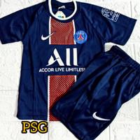 setelan pakaian baju bola anak musim 2020-2021 untuk umur 1-2-3 tahun - PSGg navy, 4