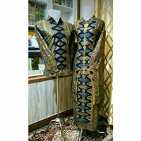 Couple set batik songket abstrak biru