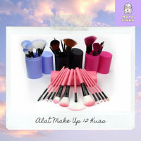 Alat Make Up Set 12 In 1 Kuas Tabung / Brush Kosmetik Make Up Tools - Pink Rose