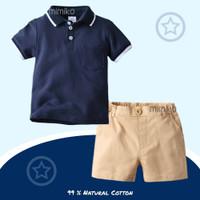 Mimiko - Noah Set Polo Kemeja Celana Baju Pergi Anak Laki Laki - Blue - 110