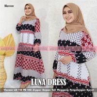 Luna Dress Wanita Muslim Import Terbaru LD 110 PB 140 - All Size, Merah
