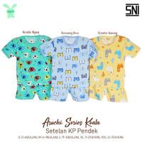 Aruchi Baju Kancing Pundak Pendek Motif 1 STEL / Piyama Stelan Pendek
