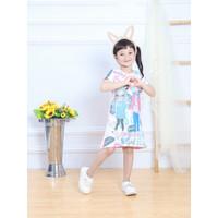 Dress Anak Printing/Dress Anak Sutra ITY/Dress Anak Korea/Duo Cw Topi - M (3-4 Tahun)