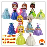 Princess Frozen Sofia Ganti Baju 6 Figure 12 Dress Mainan Topper kue