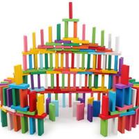 Balok Domino Mainan Edukatif Balok Susun Kayu Warna Warni