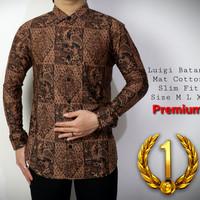 Baju Batik Pria  Kemeja Batik Slimfit   Lengan Panjang coklat   CD154