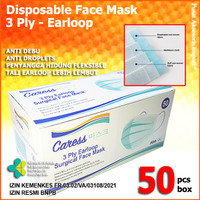 Masker 3 Ply Medis Bedah 3Ply Disposable Surgical Earloop - Caress Polos