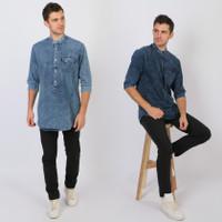 Trend One Baju Koko Kurta Denim Premium Quality Lengan ¾