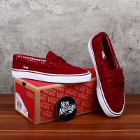 Sepatu Vans Zapato Red Merah Maroon White Putih Flanel Gingham