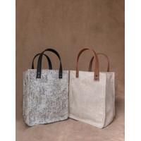 Tas Goodie Bag Souvenir Karung Goni Hampers Kanvas - Handle Kulit