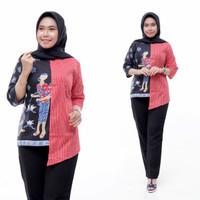 atasan blouse batik wanita cewek motif mbok jamu M L XL XXL XXXL