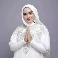 Baju Kaftan Wanita Muslim Putih Baju Hari Raya