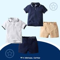 Mimiko - Noah Set Polo Kemeja Celana Baju Pergi Anak Laki Laki