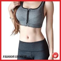 Sport bra wanita zipper premium olahraga senam gym zumba wanita FS308 - Hitam