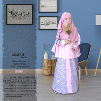 AR 04 Baju Muslim Gamis Anak set Cadar Yaman Basegeh Pink