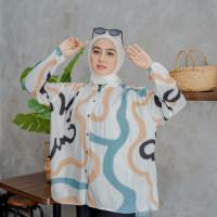 Baju Atasan Wanita Blouse Lengan Panjang KatunRayon Motif Circle FitXL