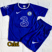 setelan pakaian anak laki laki baju bola untuk anak umur 1-2-3 tahun - Celsi biru, 4