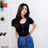 HanaFashion - Lisa T-Shirt Colorful Button Kaos Wanita Lengan Pendek -