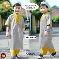 Stelan Koko Anak JEFRI Stelan Jubah anak Baju Koko Trendy Baju Lebaran - Abu Kunyit, L (11-15 tahun)