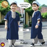Stelan Koko Anak JEFRI , Stelan Jubah anak, Baju Koko Trendy, Baju Leb - navy, XS