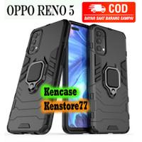Case Oppo Reno 5 Iron Armor + Ring Hardcase Armor Panther Black