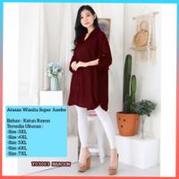 baju atasan wanita super jumbo 3xl bigsize nasya blouse kemeja maroon