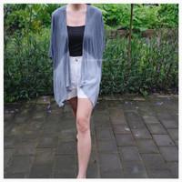 luaran outerwear outer tiedye shibori baju abu two tone