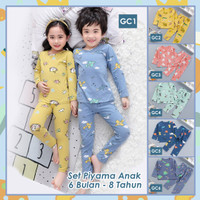 GC Piyama Anak Laki laki Perempuan Setelan Baju Tidur Kartun 1-8 Thn