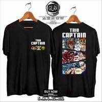 Kaos Baju Anime One Piece Trio Captain Luffy Kidd Law Kaos Anime Gilan - S, Hitam