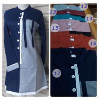baju muslim perempuan mbak santri remaja dewasa ODYS warna blues tunik