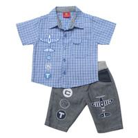 Setelan Baju Anak Bayi Laki-laki 6-12 Bulan 1-2 Tahun Kemeja Motif - Biru, S