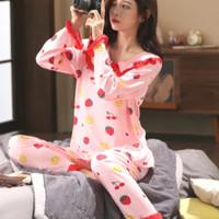 Baju Tidur wanita Piyama Import korea lengan panjang kaos adem murah - cherry pink