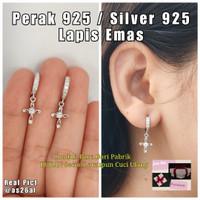 Anting Jepit Salib Perak Silver 925 Lapis Emas Putih Catok Salip S925
