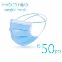 Masker Hijab 3ply Alat Kesehatan Mask Headloop 3 Lapis Ply Isi 50 pcs