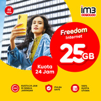 Kuota /Paket data Freedom internet 25GB full 24Jam kuota utama Indosat