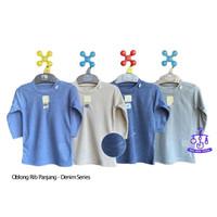 NARY 3Pcs Oblong Panjang RIB Denim Series - Atasan Bayi Size 0-6 Bulan
