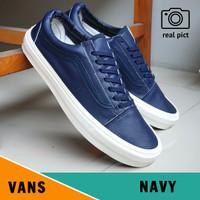 Sepatu Vans Old Skool OG Leather Navy Premium Bnib Sneakers Pria - NAVY, 39