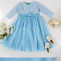 dress muslim anak, baby blue 10 tahun, baju lebaran, baju muslim pesta
