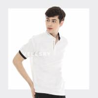 kaos polo shirt pria Shanghai/kaos kerah import England - Putih, M