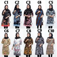 M-XXL / Baju Atasan Kerja Wanita / Seragam kuliah / Tunik batik Modern - Motif C, L