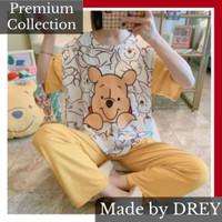 Piyama set lengan pendek oversize motif tulisan / baju tidur set