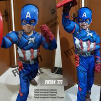 Baju kostum anak Captain America superhero super hero ulang tahun otot