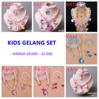 Anak-anak Perhiasan Set Gelang Mutiara Kalung Cincin Anting Lucu Impor